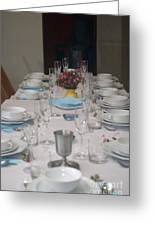 Table Set For A Jewish Festive Meal Greeting Card by Ilan Rosen