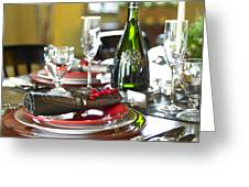 Table Setting With Red And White Greeting Card