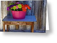 Table Top Flowers Greeting Card