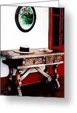 Table With Hat And Book Greeting Card