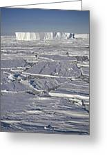Tabular Icebergs Among Broken Fast Ice Greeting Card