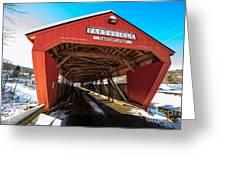 Taftsville Covered Bridge In Vermont In Winter Greeting Card
