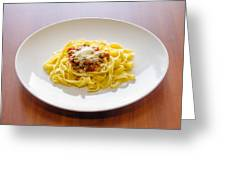 Tagliatelle Bolognese Sauce With Parmesan Greeting Card