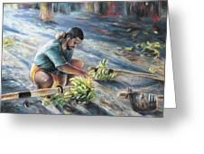 Tahitian Banana Carryer Greeting Card