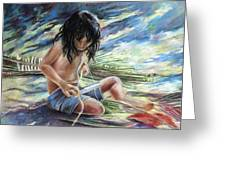 Tahitian Boy With Knife Greeting Card