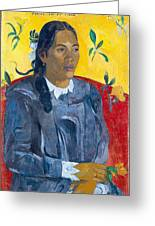 Tahitian Woman With A Flower Greeting Card