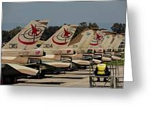 Tail Fins Of Israeli Air Force F-16`s Greeting Card