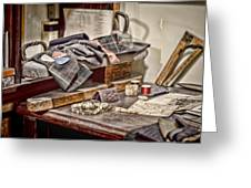 Tailors Work Bench Greeting Card