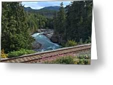 Train Tracks By The Cheakamus River Greeting Card