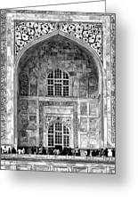 Taj Mahal Close Up In Black And White Greeting Card