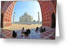 Taj Mahal In Fisheye Greeting Card