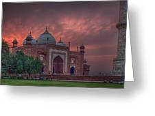 Taj Mahal Mosque At Sunset Greeting Card