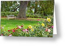 Take A Seat - Beautiful Rose Garden Of The Huntington Library. Greeting Card