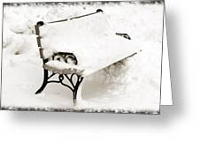 Take A Seat  And Chill Out - Park Bench - Winter - Snow Storm Bw Greeting Card