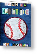 Take Me Out To The Ballgame License Plate Art Lettering Vintage Recycled Sign Greeting Card