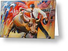 Taking On The Wall Street Bull Greeting Card