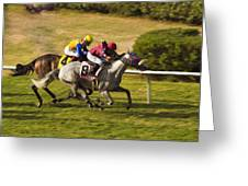 Taking Over - Del Mar Horse Race Greeting Card