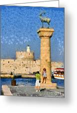 Taking Pictures At The Entrance Of Mandraki Port Greeting Card