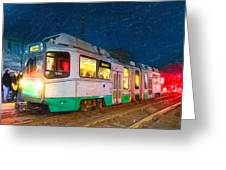 Taking The T At Night In Boston Greeting Card by Mark E Tisdale