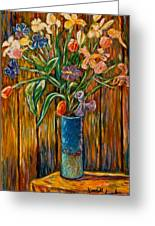 Tall Blue Vase Greeting Card