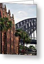 Tall Palms Before Beautiful Architecture Greeting Card