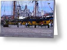 Tall Ship At Albert Dock Greeting Card