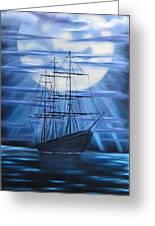 Tall Ship By Moonlight Greeting Card