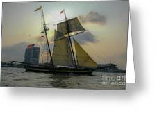 Tall Ship Chasing The Sun Greeting Card