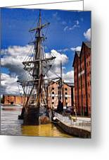 Tall Ship In Gloucester Docks Greeting Card