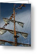 Tall Ship Mast Greeting Card by Suzanne Gaff