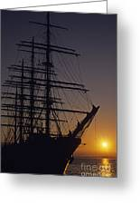 Tall Ship Silhouetted Greeting Card