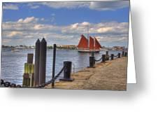 Tall Ship The Roseway In Boston Harbor Greeting Card by Joann Vitali