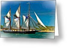 Tall Ship Vignette Greeting Card by Steve Harrington