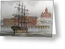 Tall Ship Waterfront Greeting Card