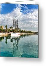 Tall Ships And Palm Trees - Impressions Of Barcelona Greeting Card