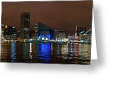 Tall Ships At Night Pano 2 Greeting Card