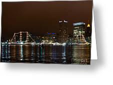 Tall Ships At Night Panorama Set Panel 1 Greeting Card