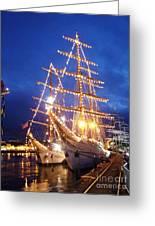 Tall Ships At Night Time Greeting Card by Joe Cashin