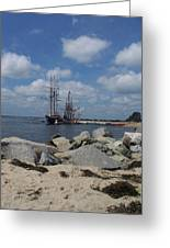 Tall Ships In The Distance Greeting Card