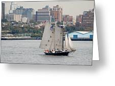Tall Ships In The Harbor Greeting Card