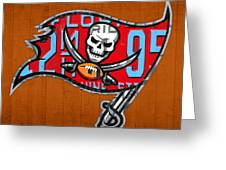 Tampa Bay Buccaneers Football Team Retro Logo Florida License Plate Art Greeting Card