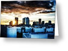 Tampa Skyline At Sunset Hdr 1 Greeting Card