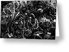 Tangled Baubles - Bw Greeting Card
