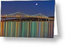 Tappan Zee Bridge Reflections Greeting Card by Susan Candelario