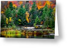 Taquamenon Lower Falls And Observation Deck. Greeting Card