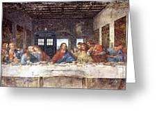 Tardis V Leonardo Da Vinci Greeting Card
