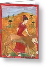 Tarot 11 Strength Greeting Card