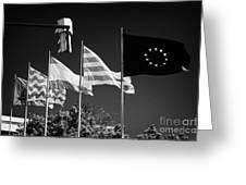 Tarragona Spanish Catalan And Eu Flags Flying Catalonia Spain Greeting Card