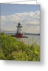Tarrytown Lighthouse And The Tappan Zee Bridge Greeting Card