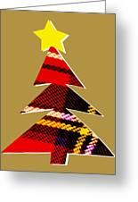 Tartan Christmas Tree On Gold Greeting Card